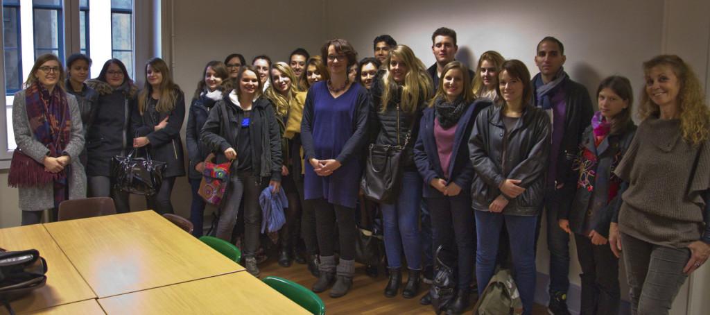 Photographie des étudiants de la LP CP&ON, du Docteur Bouilleveaux et de Madame Gennari Dujardin lors d'une visite de l'URASSM