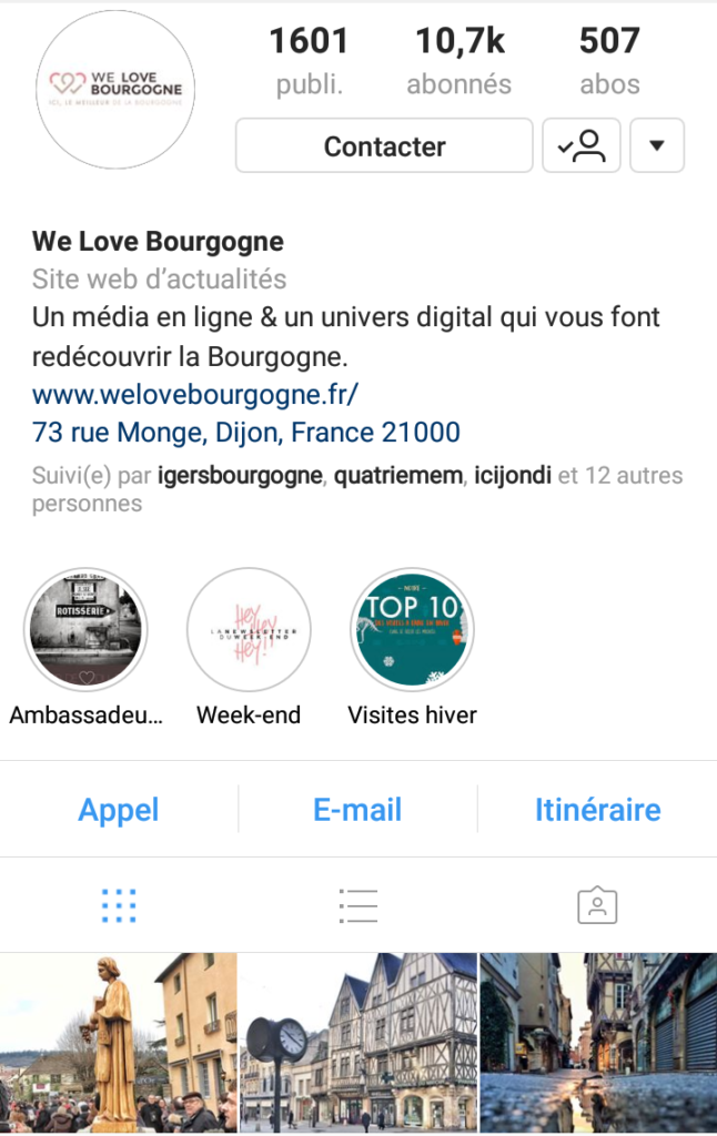 "Capture d'écran d'un post du compte ""We Love Bourgogne"""