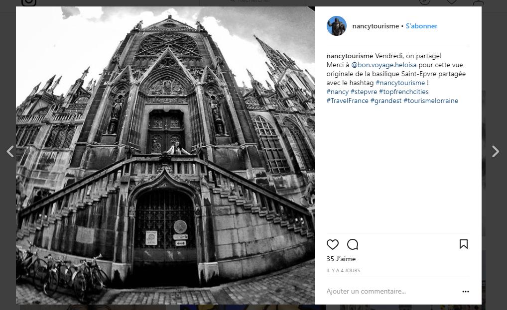 Capture d'écran d'un post du compte Nancy Tourisme